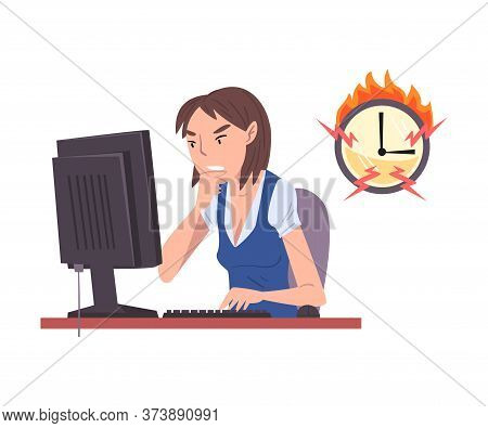 Stressed Female Employee Working Overtime, Overloaded Office Worker Sitting At Workplace In Office,
