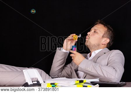 Concept Businessman Has Nothing To Do At Work. All Work Is Done.