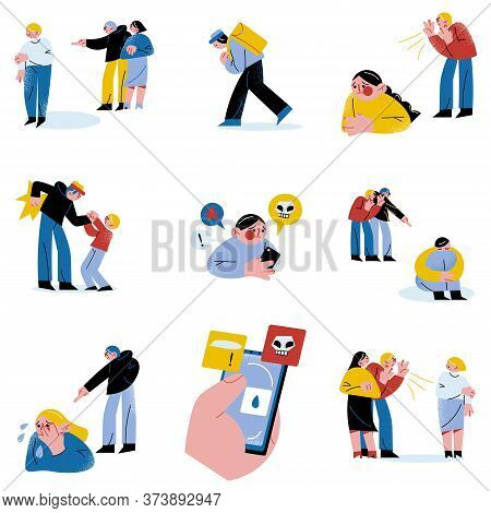 Set Of Different People Or Technologies With Information Bullying People