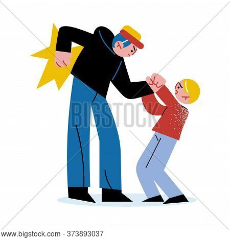 Angry Man Bullying And Fighting With Little Boy