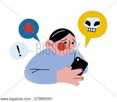 Boy Reading Warning Bullying Information From Smartphone