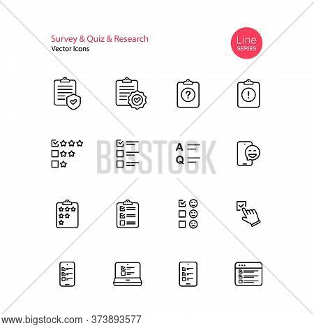 Survey Quiz Research Line Icon Set. Checklist, Quiz, Emotional Opinion, Star Review, Rating, Questio