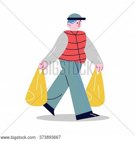 Young Man Carrying Food In Bags And Helping Elderly Person
