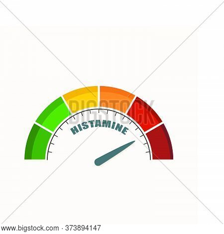 Scale With Arrow. The Histamine Measuring Device. Sign Tachometer, Speedometer, Indicator.
