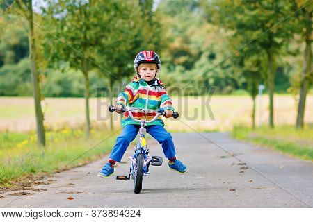 Little Cute Kid Boy On Bicycle On Summer Or Autmn Day. Healthy Happy Child Having Fun With Cycling O
