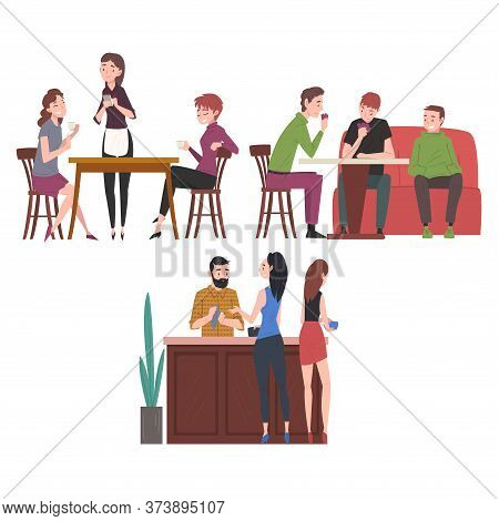 People Drinking Coffee And Relaxing At Coffeehouse Or Cafe Set, Restaurant Employees And Visitors Ve