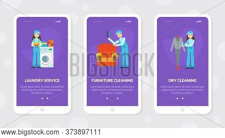 Laundry Service, Furniture And Dry Cleaning Mobile App Template, Cleaning Company Staff At Work Flat