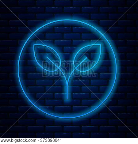 Glowing Neon Line Bio Fuel Icon Isolated On Brick Wall Background. Eco Bio. Green Environment And Re