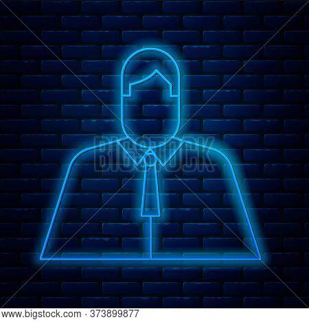 Glowing Neon Line Lawyer, Attorney, Jurist Icon Isolated On Brick Wall Background. Jurisprudence, La