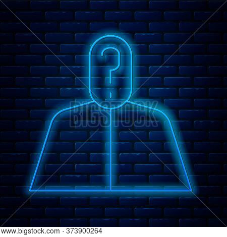 Glowing Neon Line Anonymous Man With Question Mark Icon Isolated On Brick Wall Background. Unknown U