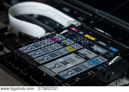Latvia, Riga, June 26, 2020: Canon Printer Ink Inside The Printer. Printer Ink.