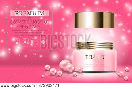 Hydrating Facial Pearl Cream For Annual Sale Or Festival Sale. Pink And Gold Cream Mask Bottle Isola