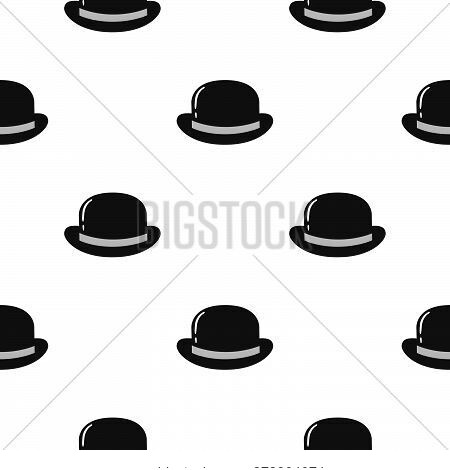 Bowler Hat Flat Icon Seamless Pattern Background. Vector Illustration.