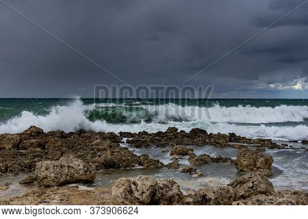A Violent Storm In The Sea. Beautiful Blue Storm Clouds. A Cloudy, Menacing Landscape. A Terrible St