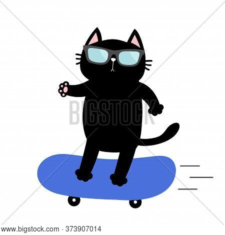 Cat On Skateboard. Cute Cartoon Kawaii Funny Baby Character. Sunglasses. Skate Boy Riding At High Sp
