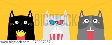 Cat Set. Popcorn, Soda, French Fries. Cinema Theater. Cute Cartoon Funny Character. Film Show. Kitte