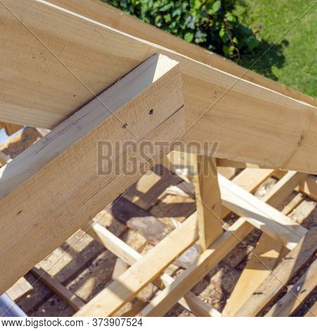Wooden Roof With Rafter Style Framing. Close Up.