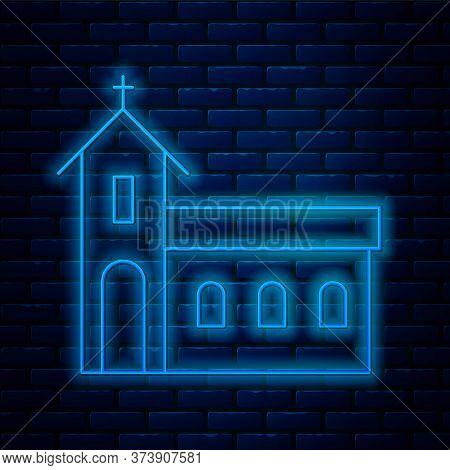 Glowing Neon Line Church Building Icon Isolated On Brick Wall Background. Christian Church. Religion