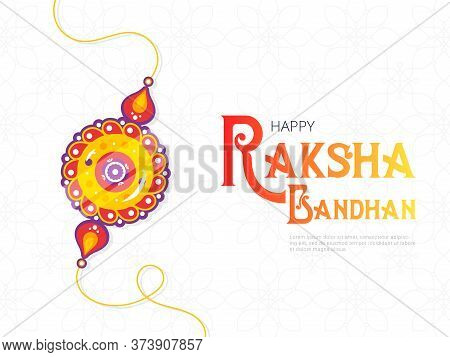 Happy Raksha Bandhan Festival Banner Template. Traditional Rakhi Amulet Given To Sisters By Brothers