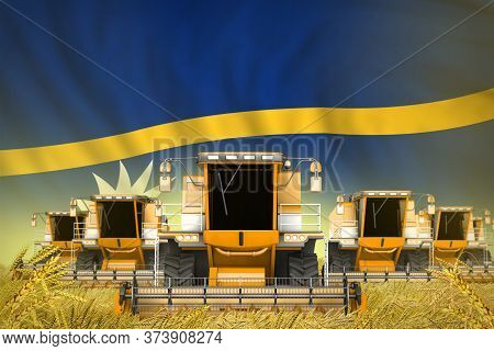 Industrial 3d Illustration Of Some Yellow Farming Combine Harvesters On Rye Field With Nauru Flag Ba