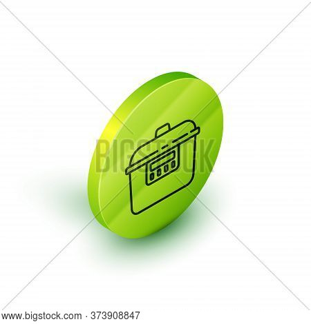 Isometric Line Slow Cooker Icon Isolated On White Background. Electric Pan. Green Circle Button. Vec