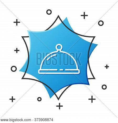 White Line Covered With A Tray Of Food Icon Isolated On White Background. Tray And Lid. Restaurant C