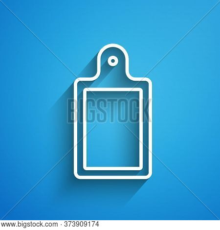 White Line Cutting Board Icon Isolated On Blue Background. Chopping Board Symbol. Long Shadow. Vecto