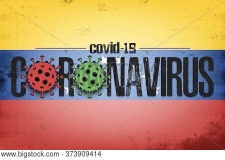 Flag Of Venezuela With Coronavirus Covid-19. Virus Cells Coronavirus Bacteriums Against Background O