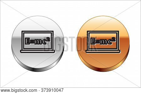 Black Line Math System Of Equation Solution On Chalkboard Icon Isolated On White Background. E Equal