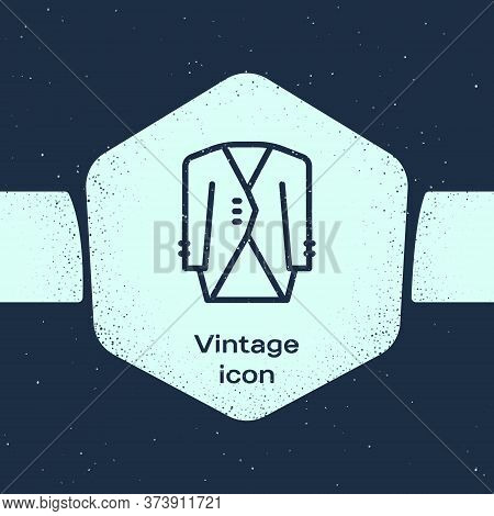 Grunge Line Suit Icon Isolated On Blue Background. Tuxedo. Wedding Suits With Necktie. Monochrome Vi
