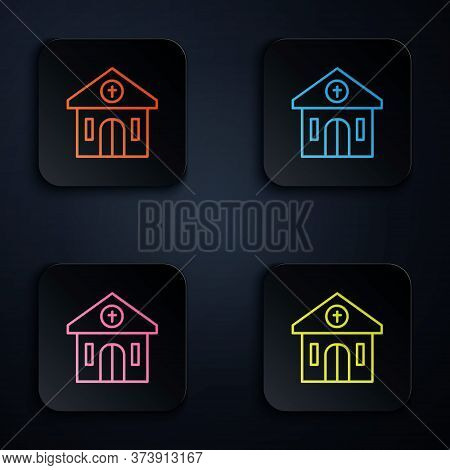 Color Neon Line Church Building Icon Isolated On Black Background. Christian Church. Religion Of Chu