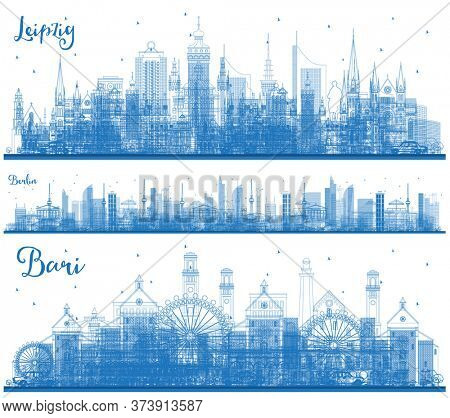 Outline Leipzig Germany, Bari Italy and Berlin Germany City Skylines Set with Blue Buildings. Cityscapes with Landmarks.