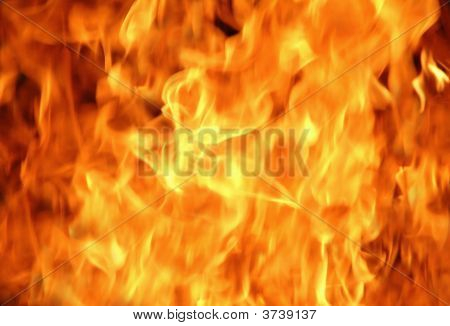 Burning Fire And Flames Close Up