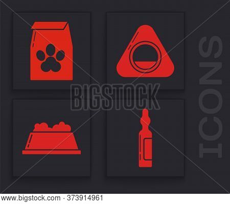 Set Pets Vial Medical, Bag Of Food For Pet, Pet Bed And Pet Food Bowl Icon. Vector