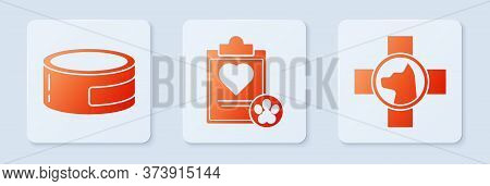 Set Clipboard With Medical Clinical Record Pet, Canned Food And Veterinary Clinic Symbol. White Squa