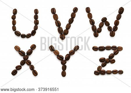 Alphabet Made Up Of Coffee Beans. U V W X Y Z Isolated On A White Background