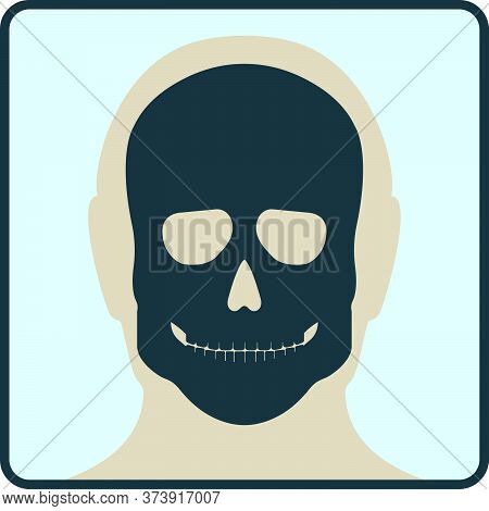 Head Skull Bone, X-ray Concept Icon, Roentgen Human Body Image Isolated On White, Flat Vector Illust