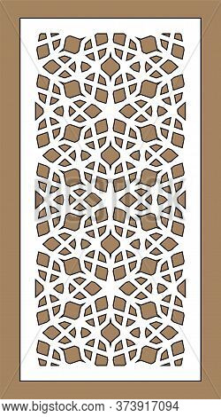 Laser Cutting. Arabesque Decorative Vector Panel. Template For Interior Partition In Arabic Style. L
