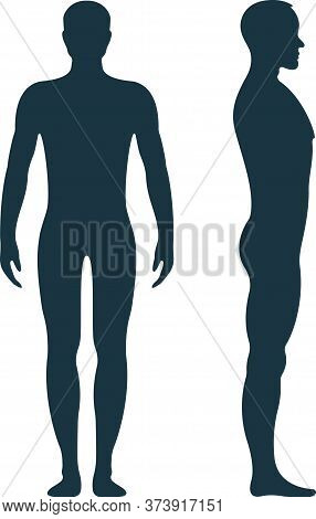 Male Human Character, People Man Front And View Side Body Silhouette, Isolated On White, Flat Vector