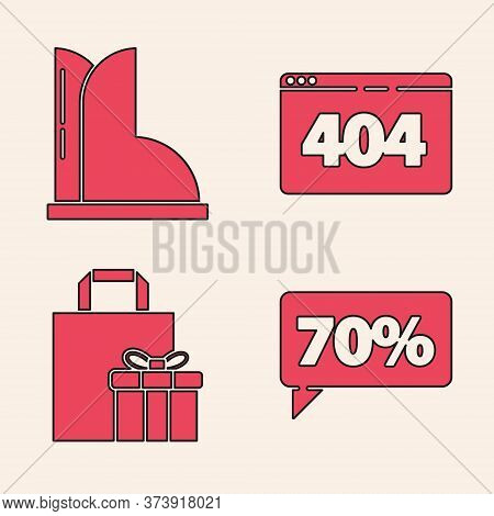 Set Seventy Discount Percent Tag, Waterproof Rubber Boot, Page With A 404 Error And Gift Box Icon. V