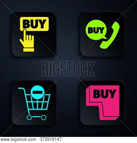 Set Buy Button, Buy Button, Remove Shopping Cart And Phone And Speech Bubble With Buy. Black Square