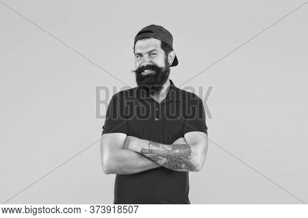 Confident And Stylish. Happy Hipster Yellow Background. Bearded Man In Trendy Hipster Style. Hipster