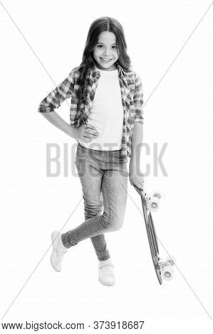 Trendy Girl. Summer Vacation. Kid Having Fun With Penny Board. Child Smiling Face Stand Skateboard.