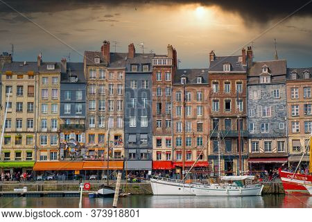 Honfleur, Normandy, France - 26 March 2019: The Old Port Of Honfleur, Normandy, France, Showing The