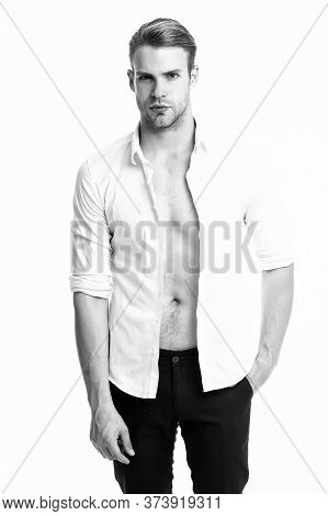 When Work Is Over. Attractive Man Taking Off Shirt. Confident In His Appealing. Bearded Guy Casual S
