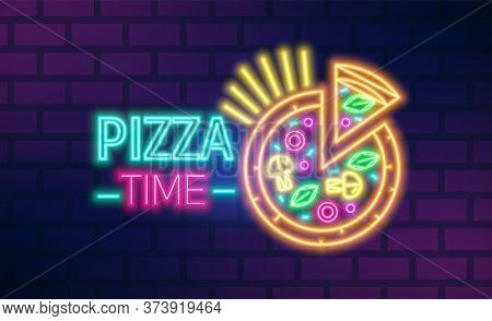 Colorful Neon Pizzeria Signboard Vector Flat Illustration. Bright Pizza Time Cafe With Inscription I