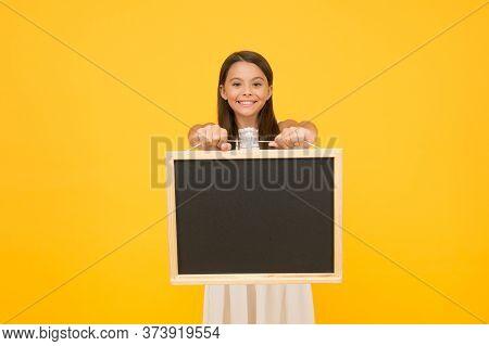 Kid Seasonal Fashion Sales. Carefree Beauty Show Blackboard. Smiling Kid Hold Board. Little Child Ad