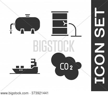 Set Co2 Emissions In Cloud, Oil Industrial Factory Building, Oil Tanker Ship And Barrel Oil Leak Ico