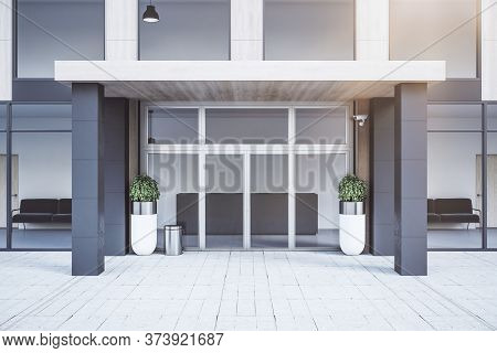 Glass Door Of Luxury Office Building. Business Corporate And Company Concept. 3d Rendering