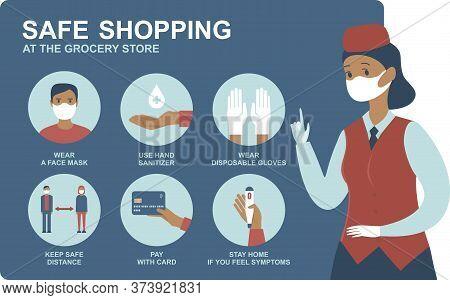 Quarantine Coronavirus 2019-ncov Epidemic Precautions. Safe Shopping In Public Places During The Co